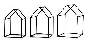 Kit casa preta em metal - 3 peças