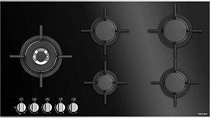 Cooktop a gás vitrocerâmico, 5 queimadores, Tecno, 220V.