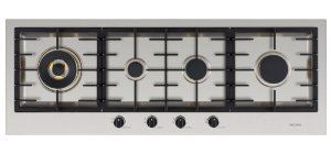 Cooktop a gás, inox escovado 110 cm x 40 cm - 4 queimadores com tripla chama lateral, 220V.