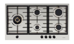 Cooktop a gás, inox escovado 89cm - 5 queimadores com tripla chama lateral, 220V.