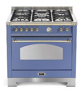 Fogão Lofra a gás Dolce Vita Azul Lavanda, 5 queimadores, 90x60cm, 1 forno, 220V.