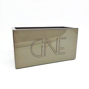 Porta controle remoto bronze de madeira e acrílico - 21 x 10 x 11 cm