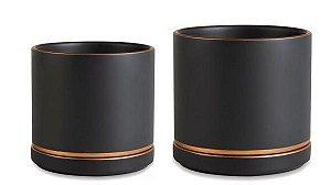 Conjunto de Vasos Preto e Dourado em Cerâmica - 13,5 x 14 cm / 11 x 11 cm
