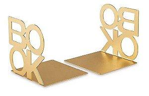 Conjunto de aparador de livros Book dourado em metal - 13 x 13 x 12,5 cm