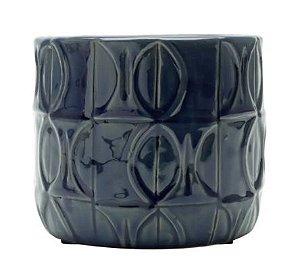 Vaso Decorativo em Cerâmica Embossed Leaves Azul Índigo- 12,5 cm x 15 cm
