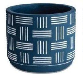 Vaso de Cimento Azul - 11 x 11 x 9 cm