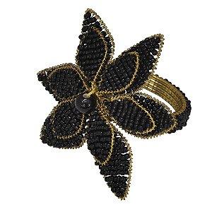 Conjunto de Porta Guardanapos com Miçangas Preto e Dourado - 4 peças - 7 cm