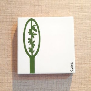 Azulejo Personalizado Elizabeth Titon 15x 15 cm - Folha Verde Escuro