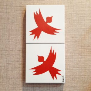 Azulejo  Duplo Personalizado Elizabeth Titon 30 x 15 cm - Pássaro Vermelho