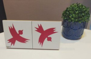 Azulejo  Duplo Personalizado Artista Elizabeth Titon 30 x 15 cm - Pássaro Vermelho
