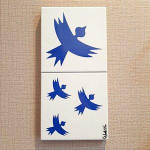 Azulejo Duplo Personalizado Elizabeth Titon 30 x 15 cm -Pássaro Azul