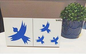 Azulejo Duplo Personalizado Artista Elizabeth Titon 30 x 15 cm - Pássaro Azul