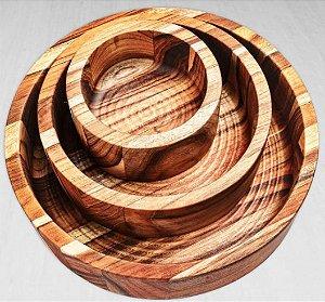 Conjunto de Petisqueiras Cambuci Madeira Teca 3 peças - ARZ Home Design