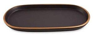 Bandeja em Cerâmica- Mart-Preta e Dourada -14 x 26,5 cm