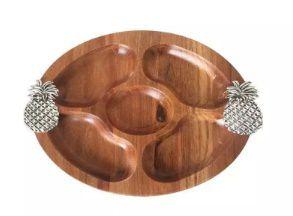 Petisqueira redonda de madeira abacaxi - 27 Cm