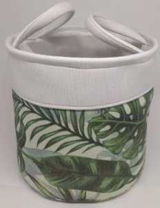 Conjunto de cesto redondo com estampa de folhas - 3 peças