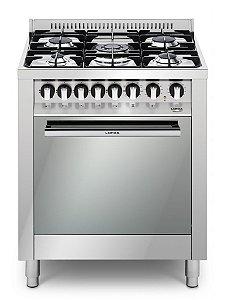 Fogão a gás inox 5 queimadores, 70x60cm, Turbo forno elétrico - Lofra