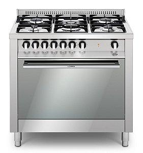 Fogão a gás inox 5 queimadores, 90x60cm, forno elétrico - Lofra