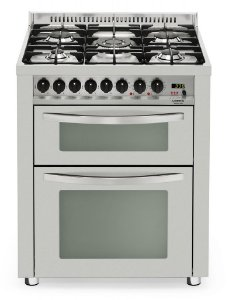 Fogão a gás professional inox escovado 5 queimadores, 70x60cm, Duplo forno elétrico - Lofra