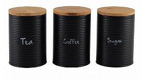 Conjunto 3 Potes Preto -BTC-16x11x11 cm