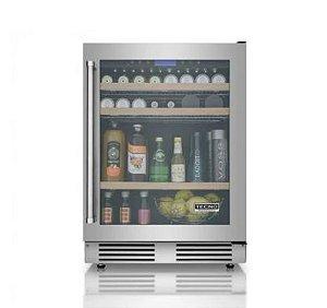Frigobar de 136 litros, vidro triplo, piso ou embutir, LED, Inox, Frost Free, Alarme, 220V, Professional - Tecno