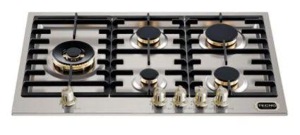 Fogão de mesa a gás inox escovado 75m 5 queimadores com tripla chama Lateral Vintage - Tecno
