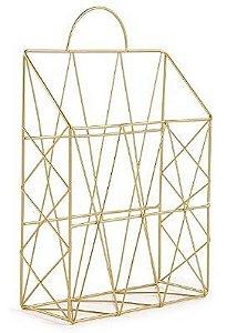 Porta-Revistas em Metal Dourado - Mart 9 x 25 x 38 cm