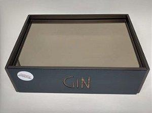 Caixa Retangular Gin -Bronze, Veludo Marrom e Acrílico azul -30 x 10x 21 cm