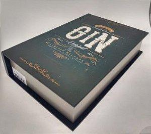 Livro Decorativo Gin- Bege , Champanhe, preto e Veludo grafite- 21x 7 x 31 cm