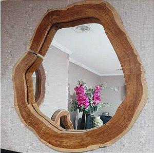Espelho de Madeira Teka - Grande 50x50 cm