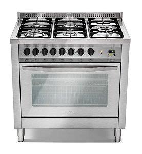 Fogão a gás professional inox escovado 5 queimadores sendo, Turbo forno elétrico - Lofra