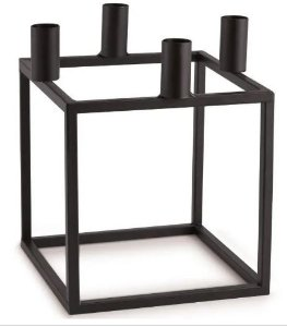 Porta Velas Preto em Metal - 16 x 16 x 16 cm