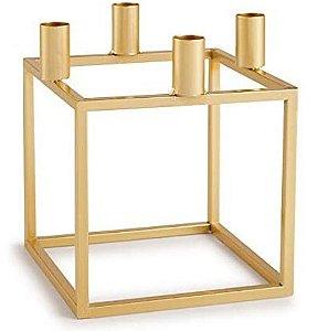 Porta Velas Dourado em Metal - 16 x 16 x 16 cm