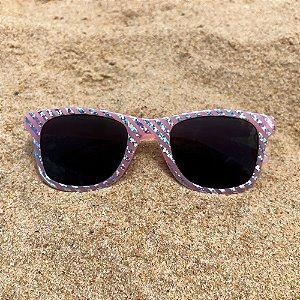 Óculos de sol infantil rosa e prata
