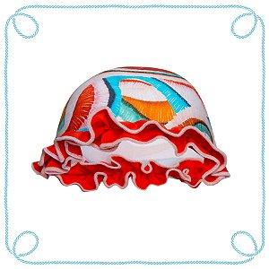 Touca de natação infantil - Colorido (com babados)
