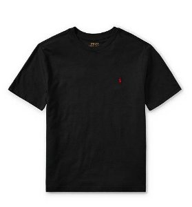 RALPH LAUREN - Camiseta Jersey Crewneck Infantil Preto