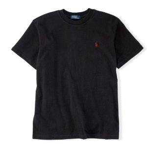 RALPH LAUREN - Camiseta Jersey Crewneck Juvenil Preto