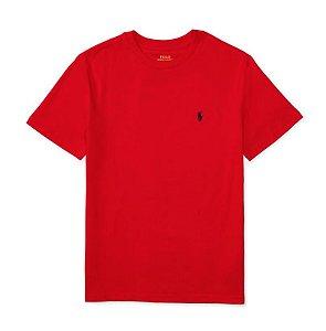 RALPH LAUREN - Camiseta Jersey Crewneck Juvenil Vermelha