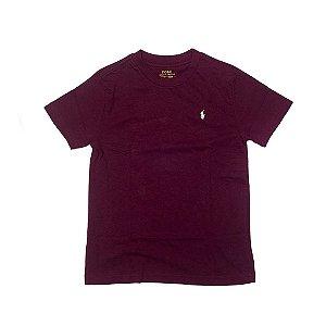 RALPH LAUREN - Camiseta Jersey Crewneck Kids Vinho