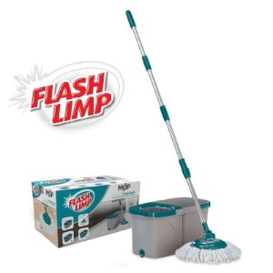 Mop Duas Aguas Fit Giratório Esfregão Microfibra com Cesto Inox Flash Limp MOP7504