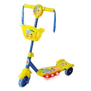 Patinete com Cesta Infantil 3 Rodas Radical Floresta Divertida com Luz e Som DM Toys