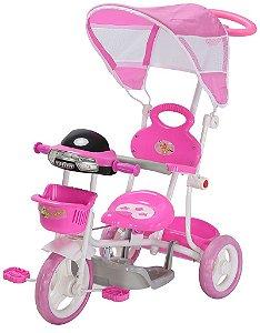 Triciclo Motoca Infantil Passeio com Empurrador Pedal Luz Som Capota Importway BW003