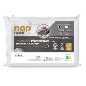 Travesseiro Viscoelástico NAP home premium Nasa Tecido percal C/ 200 fios  Fechamento C/ ziper