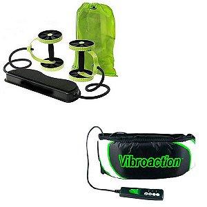 Kit Revoflex Musculação Roda Xtreme + Vibroaction Cinta Vibratória Abdominal