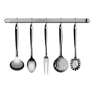 Conjunto de Utensilios Inox para Cozinha Euro Home 6 Peças com Suporte IN2704