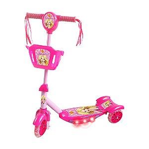 Patinete com Cesta Infantil 3 Rodas Menina Radical Belinda com Luz e Som DM Toys