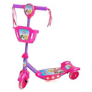 Patinete com Cesta Infantil 3 Rodas Radical Sonho de Princesa com Luz e Som DM Toys