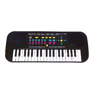 Teclado com Microfone HS3755A Piano Musical Infantil 37 Teclas 22 Músicas Demo DM Toys
