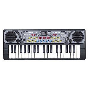 Teclado com Microfone BX1622 Piano Musical Infantil 37 Teclas 06 Músicas Demo DM Toys