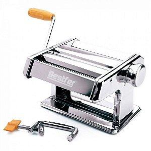 Máquina de Macarrão Massa Caseira Pastel Profissional Inox com Manivela 3 Tipos BFH1679 Bestfer